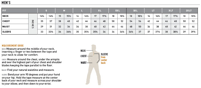 Ariat Men's Apparel Shirt and Outerwear Size Chart – Western Outlets